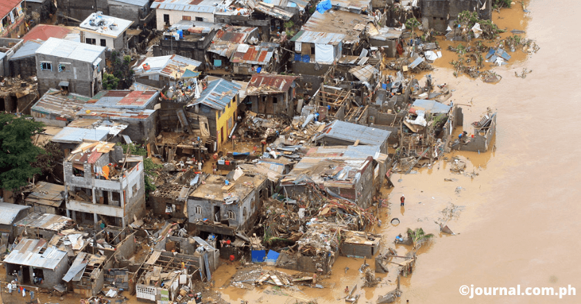 Residences were swallowed and  destroyed by flooding, Ondoy typhoon