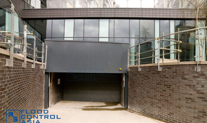 When not is use, the Drop-Down Flood Barrier is unobtrusively and safely tucked in a shelf constructed above the entry point.