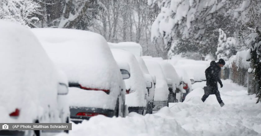 Heavy snow covered many parts of Europe burying cars and roads in deep snow.