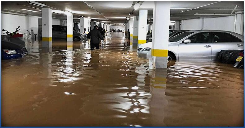 Flooded car garage basement