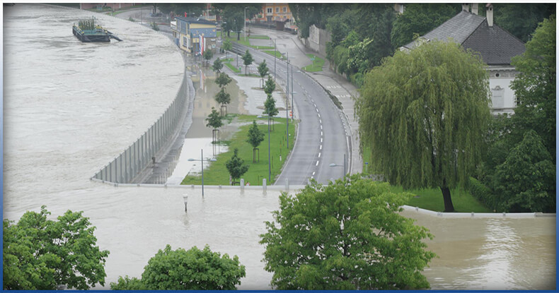 Flood control barriers in action at Austria