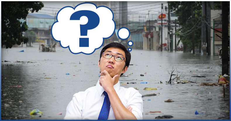 man thinking about flood