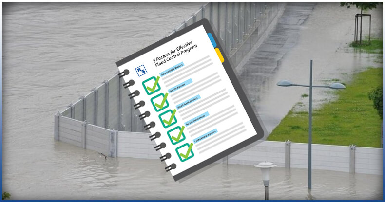 flood control barriers, notebook with a check mark.