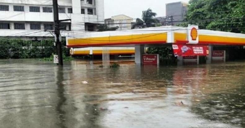 flooded gasoline station