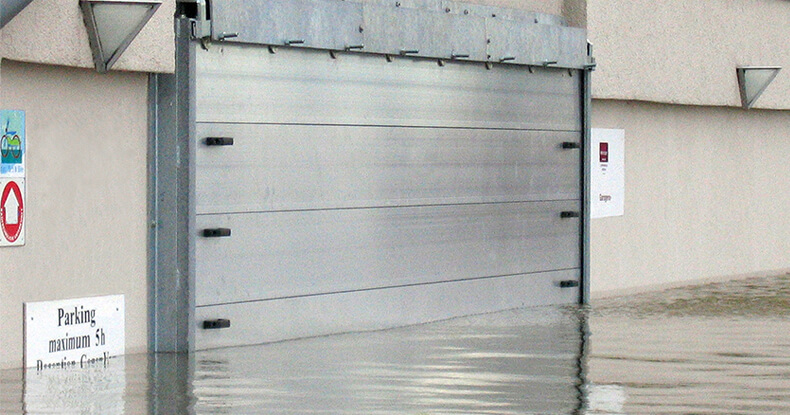 garage protected by rs flood barrier from flood