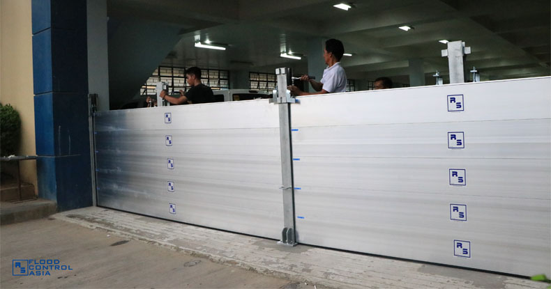 flood control RS barrier installed in garage