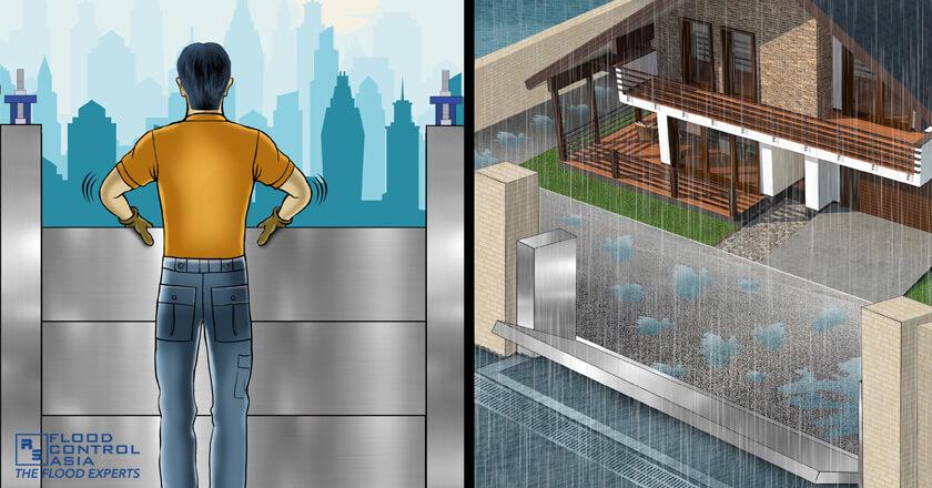 (Left) RS Demountable Flood Barriers - needs operator (Right) Anhamm Self-Activating Flip Up Flood Barriers - does not need operator, Flood Protection Barrier