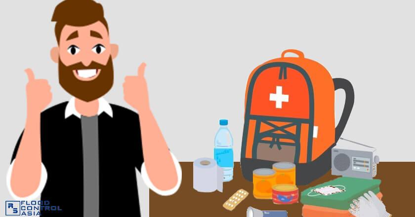 man with complete setup of medical kit