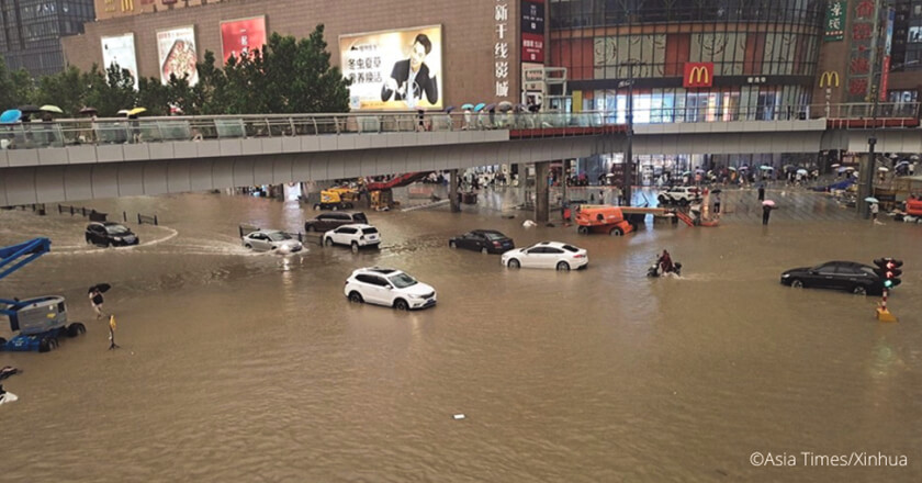 A place in Zhengzhou was submerged underwater after torrential rains, west Germany and central China