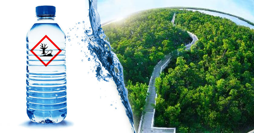 "This banner photo shows plastic bottles with superimposed text ""Environmental Hazard""."