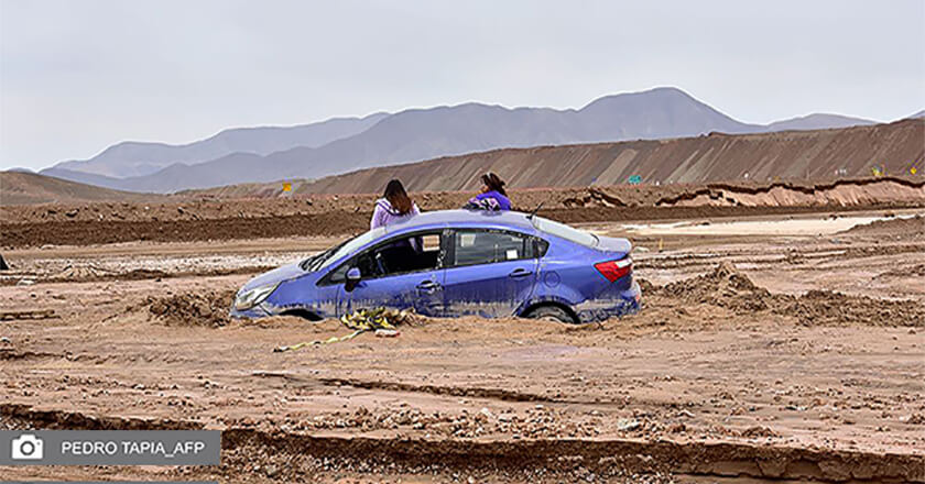 A car is trapped in mud in Chuquicamata, Chile.