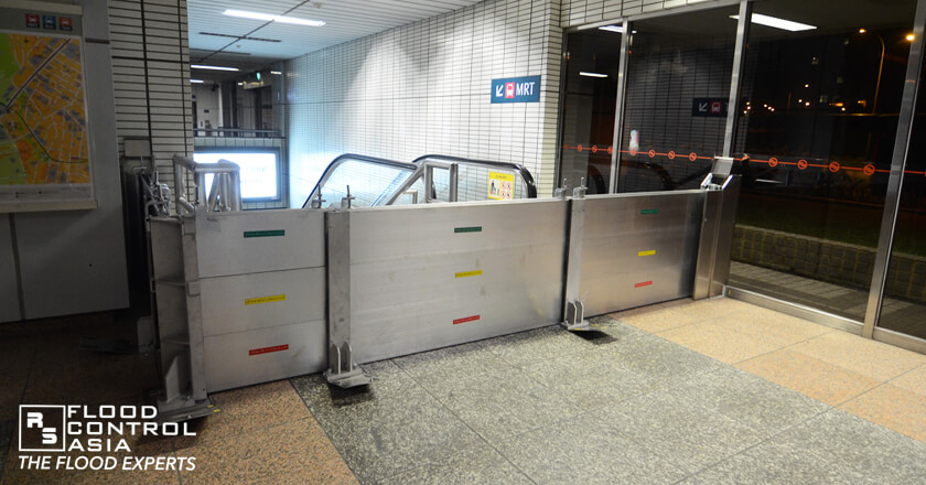 demountable flood barriers as flood protection in Singapore MRT