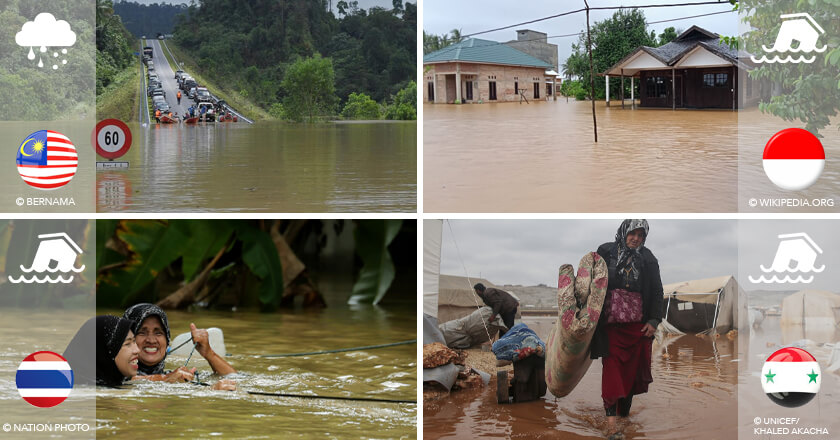 asian floods Malaysia, Thailand, Indonesia, Syria flooding