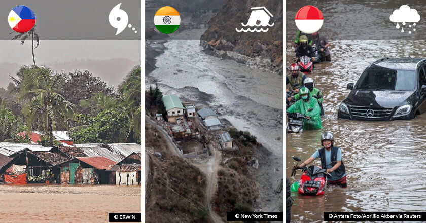 Asian floods in the Philippines, Northern India, and Indonesia