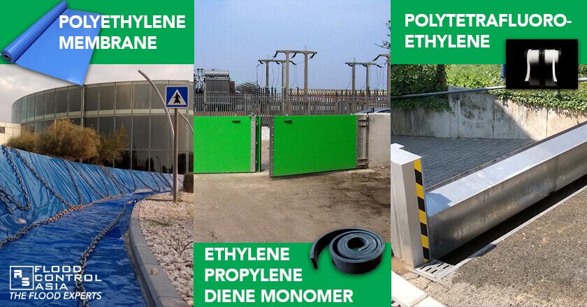 Polyethylene Membrane (INEROTM Mobile Flood Barriers); Ethylene Propylene Diene Monomer (RS Lift-hinged Flood Gate); Polytetrafluoroethylene Gasket (Anhamm Automatic Flood Barrier), flood protection barrier