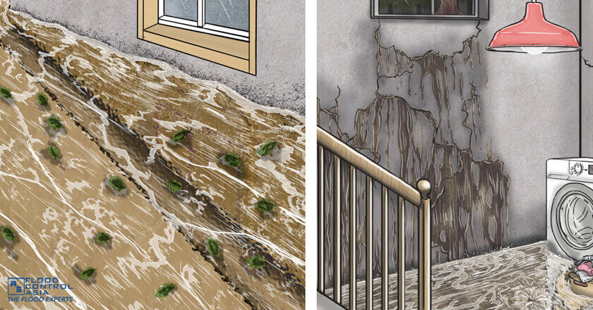 Sealing was improperly done so floodwater flowed into the basement., Basement Flooding