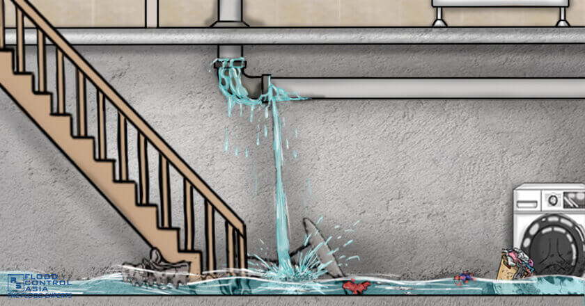 The poorly installed tile drainage caused flooding in the basement, Basement Flooding