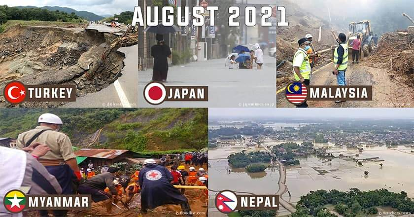 (Top Left) A road collapsed due to the floods in Bartin, northern Turkey; (Middle) A flooded road in Kurume, Fukuoka Prefecture; (Top Right) Workers clearing a blocked road leading to the peak of Gunung Jerai and The Jerai Hill Resort in Kedah; (Bottom Left) Search and rescue teams working at the scene of the landslide in Mogok Township, Myanmar; (Bottom Right) Flooding in Nepal, 3rd quarter Asia weather