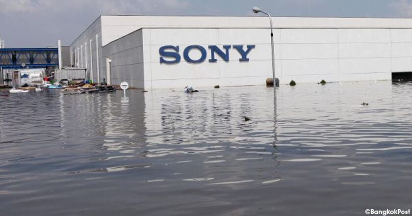 Sony company submerged in flood